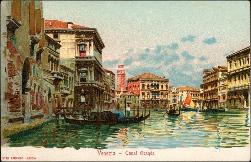 Venedig Venezia Canal Grande Werbekarte Loeflund Stuttgart Grunbach 1912