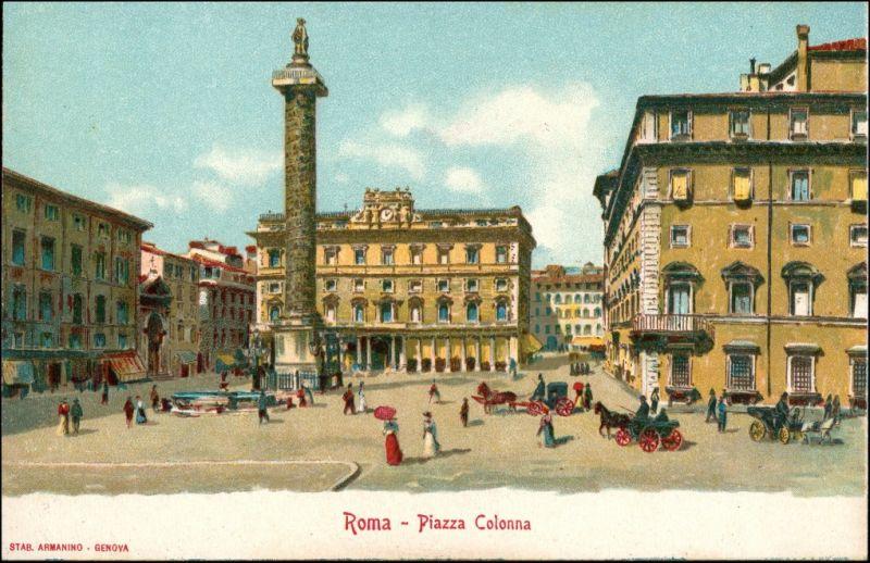 Rom Roma Piazza Colonna Werbekarte Loeflund Stuttgart Grunbach 1912