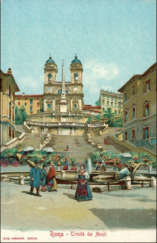 Rom Roma Werbekarte Loeflund Stuttgart Grunbach Trinita 1912
