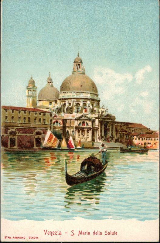Venedig Venezia Gondel Werbekarte Loeflund Stuttgart Grunbach 1912