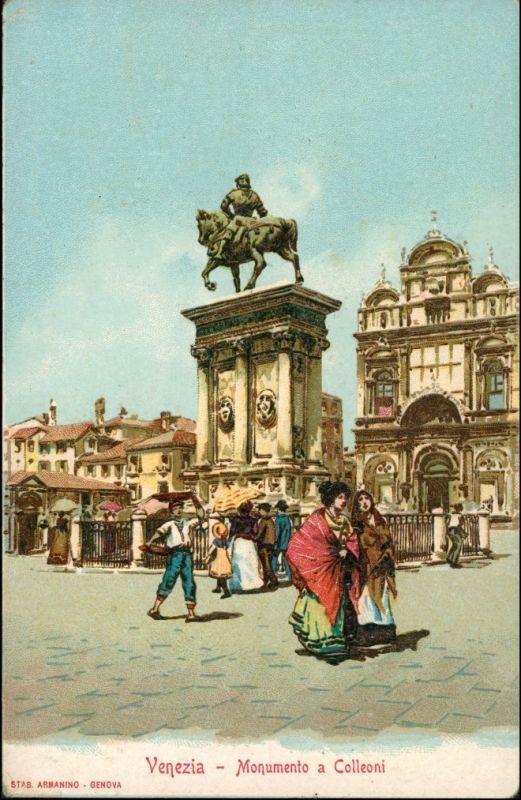 Venedig Venezia Monument Werbekarte Loeflund Stuttgart Grunbach 1912