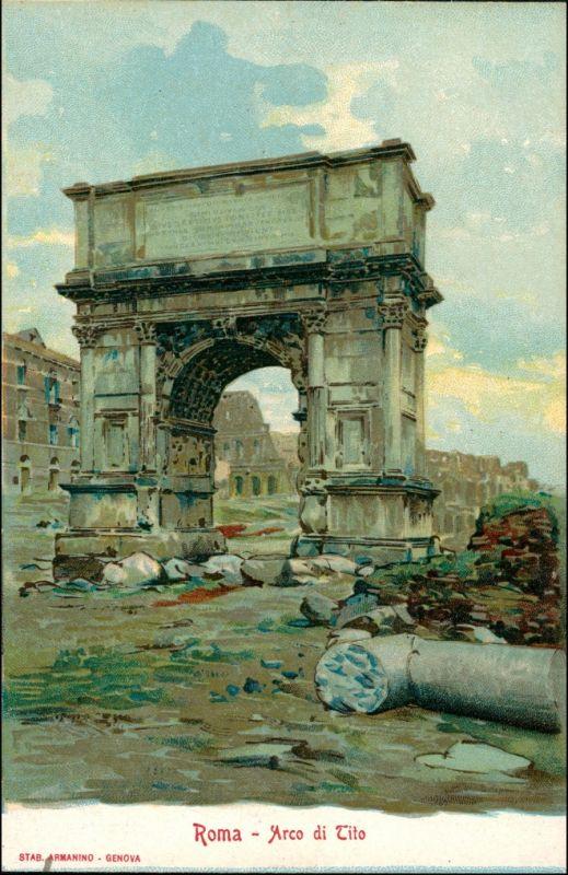 Rom Roma Arco di Tito Werbekarte Loeflund Stuttgart Grunbach 1912