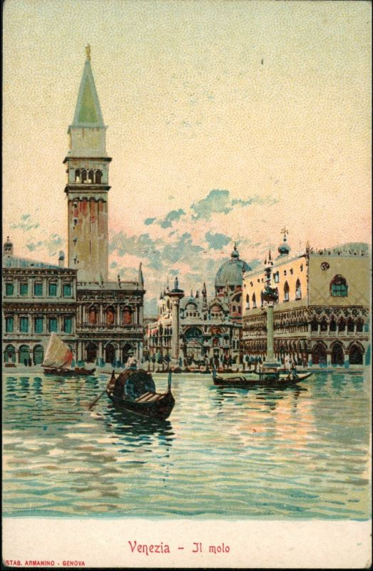 Venedig Venezia Il Molo Werbekarte Loeflund Stuttgart Grunbach 1912