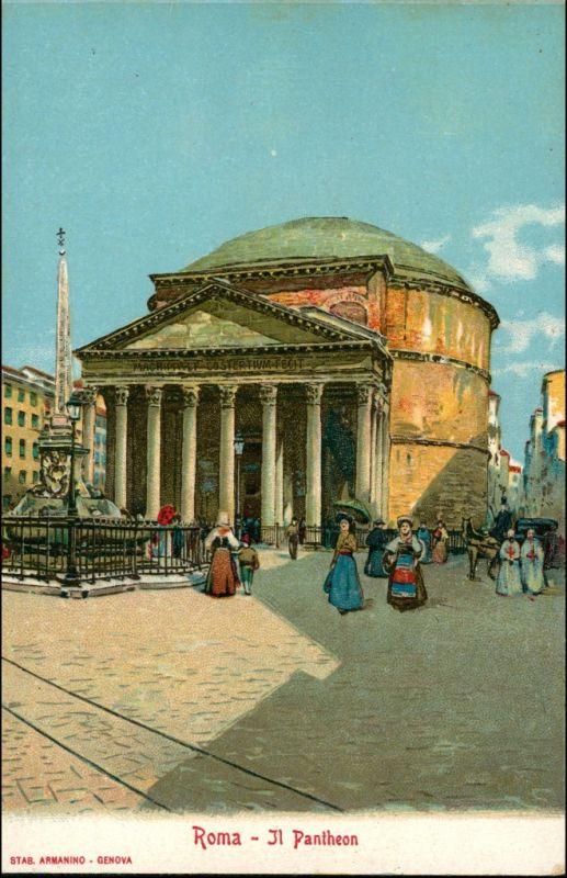 Rom Roma Il Pantheon Werbekarte Loeflund Stuttgart Grunbach 1912 0