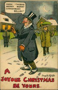 Ansichtskarte  Scherzkarte Alkohol, Trinkerei, Betrunkener an Weihnachten 1913