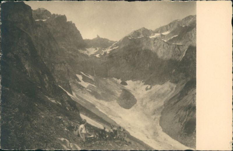 Bergsteiger Alpen Wanderer am Gletscher, Clacier Post Card 1920 Privatfoto