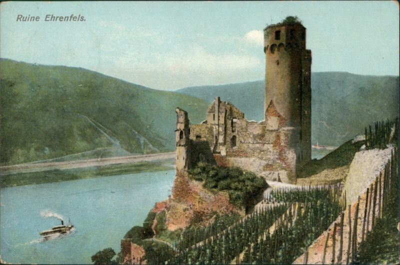 Rüdesheim (Rhein) Burg/ Ruine Ehrenfels Rhein Tal color Postkarte 1909   gelaufen mit Stempel ASSMANNSHAUSEN