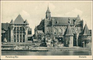 Marienburg Malbork Schloss/Ordensburg Marienburg - Westseite 1924