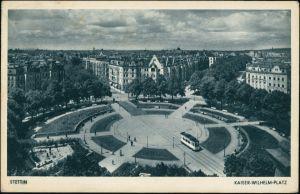 Postcard Stettin Szczecin Blick auf Kaiser Wilhelmplatz 1942