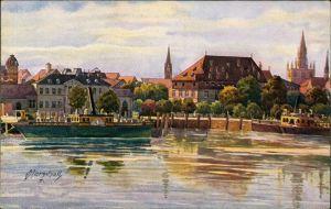 Ansichtskarte Konstanz Künstlerkarte sign. Marschall Stadt, Dampfer 1922