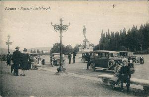 Florenz Firenze Piazzale Michelangelo/Personen Auto Verkehr, Street cars 1910