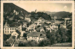 Friesach Teilansicht Blick auf Häuser, Strasse und Alpen Bergland 1941