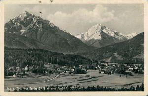 Igls Panorama-Ansicht mit Serles, Habicht, Alpen Berge Bergkette 1950