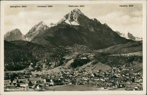 Mittenwald Panorama des Ortes mit Bergnamen, Gebirge, Alpen Berge 1936