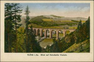 Ansichtskarte Flöha (Sachsen) Blick auf das Hetzdorfer Viadukt 1923