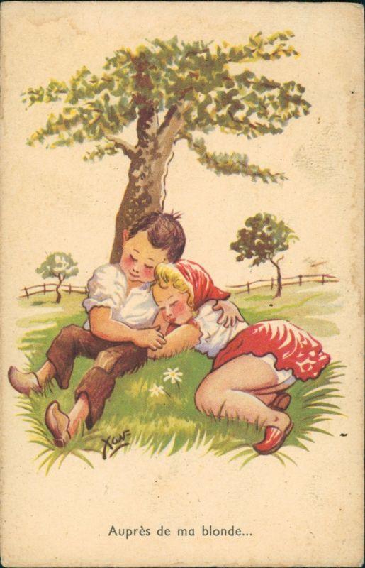 Auprès   ma blonde/Künstlerkarte Kinder Mädchen Junge schlafend unter Baum 1950 0
