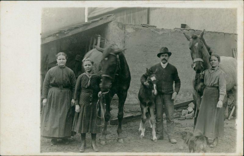 Familienfoto Privataufnahme Pferden, Fohlen, Familie Bauernhof 1910 Privatfoto