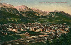 Innsbruck Panorama-Ansicht v.d. Brennerstrasse, Totalansicht mit Bahnhof 1918