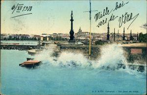 Ansichtskarte Genf Genève Un Jour de bise/Windiger Tag am Genfer See 1908