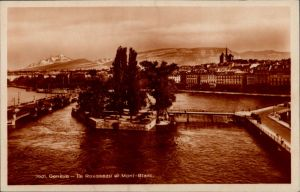Genf Genève Ile Rousseau et Mont-Blanc/Umland-Ansicht mit Insel   1929
