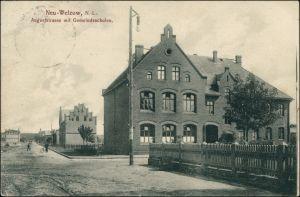 Neu  Welzow  Augustrasse mit Gemeindeschulen Niederlausitz b Senftenberg 1912