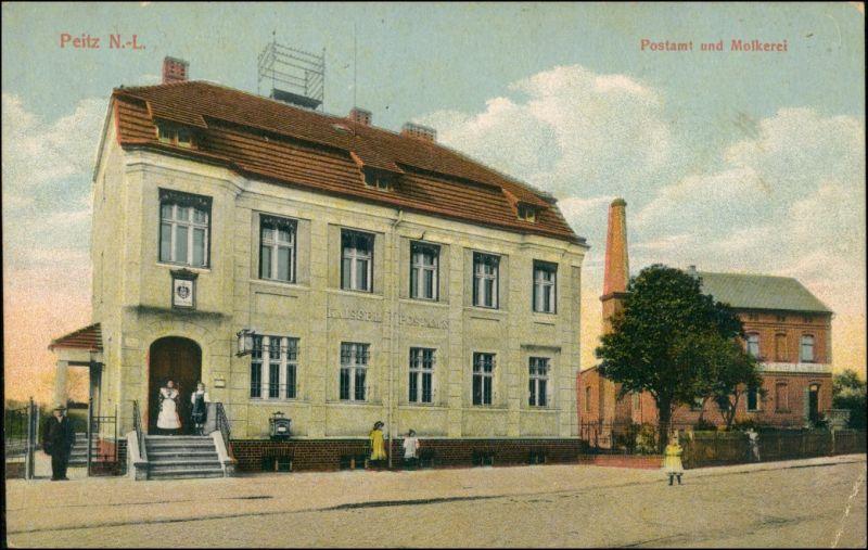 Ansichtskarte Peitz Picnjo Postamt und Molkerei 1922 0
