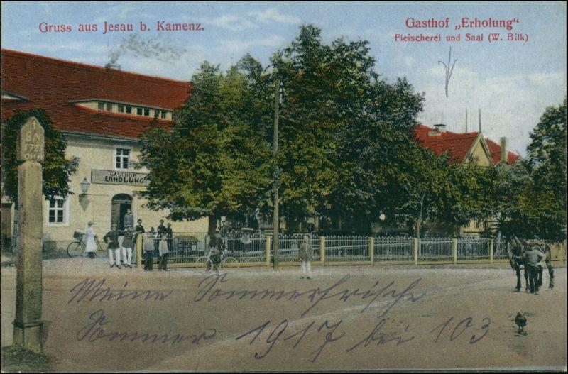 Ansichtskarte Jesau-Kamenz Kamjenc Gasthaus Erholung - Fleischerei 1917 0
