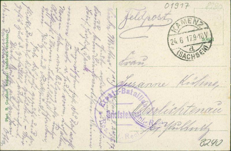 Ansichtskarte Jesau-Kamenz Kamjenc Gasthaus Erholung - Fleischerei 1917 1