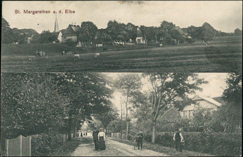 Ansichtskarte Sankt Margarethen (Holstein) Stadt, Straße - 2 Bild 1913 0