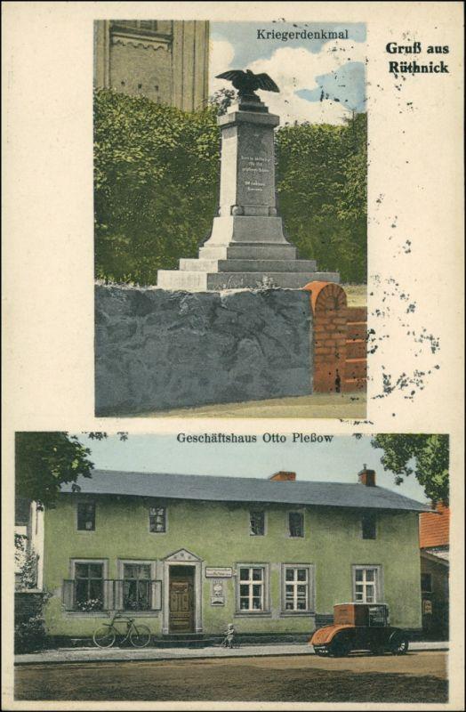 Rüthnick 2 Bild Kriegerdenkmal, Geschäftshaus b Lindow Neuruppin 1919 0