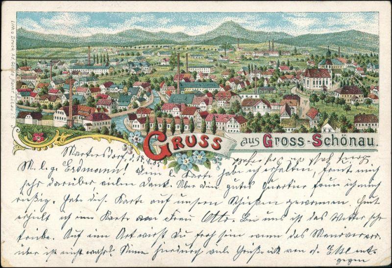 Litho AK Großschönau (Sachsen) Gruss aus.. Stadt Fabriken Oberlausitz 1905 0