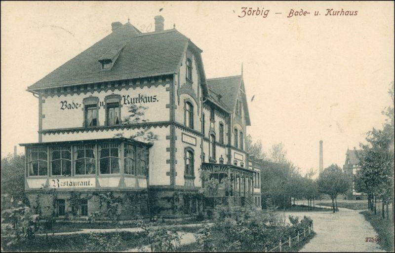 Ansichtskarte Zörbig Restaurant Bade und Kurhaus Anhalt-Bitterfeld 1909 0