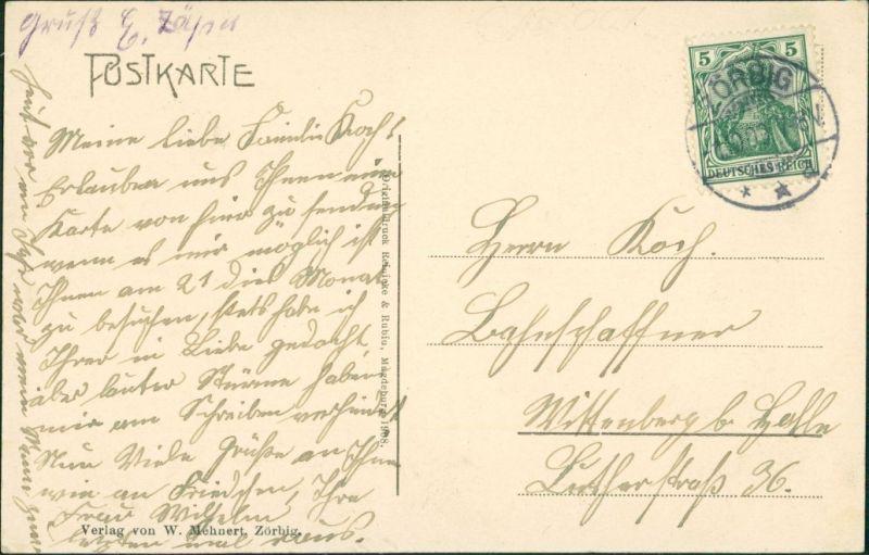 Ansichtskarte Zörbig Restaurant Bade und Kurhaus Anhalt-Bitterfeld 1909 1