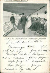 Schiffe/Schifffahrt - Dampfer Bord  Doppelschrauben Postdampfers Pretoria 1903