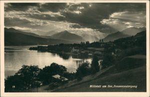 Ansichtskarte Millstatt Panorama-Ansicht des Ortes bei Sonnenuntergang 1937