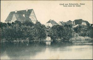 Ansichtskarte Schweinitz (Elster)-Jessen Partie hinter der Schule 1928