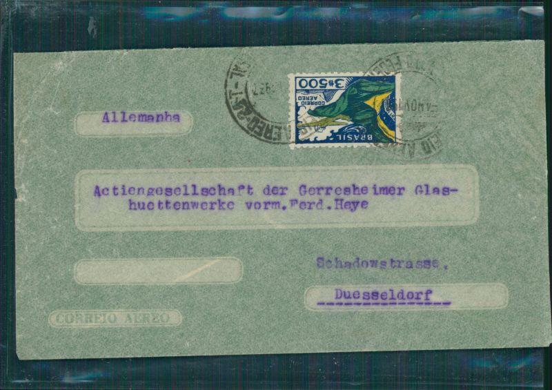Briefumschlag Briefmarke Luftpost Brasilien->Düsseldorf 1937 - 3$500