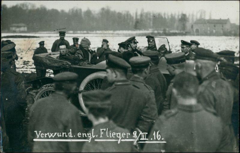 Soldaten, Auto - gefangene Englische Flieger 1. WK 1916 Privatfoto
