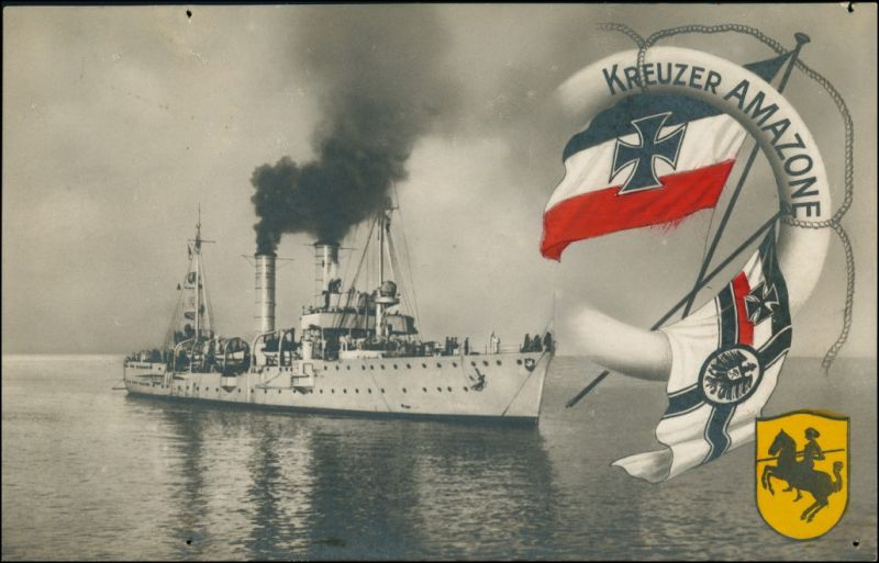 Ansichtskarte  Marine - Kreuzer Amazone - Patriotika 1918