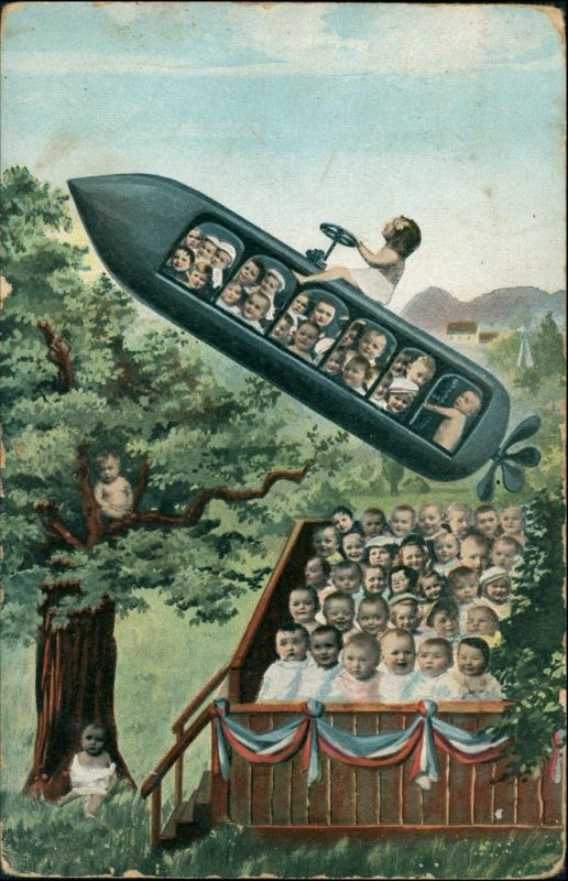 Ansichtskarte  Scherzkarte - Kinder werden mit Rakete ausgeliefert 1908