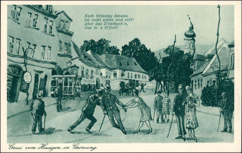 Ansichtskarte Grinzing-Wien Gruß voHeurigen - Scherzkarte 1926
