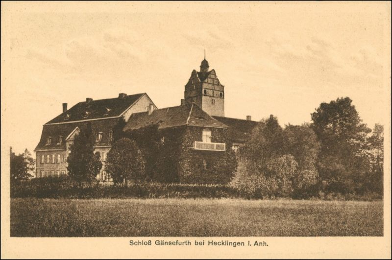 Ansichtskarte Hecklingen (Salzlandkreis) Schloß Gänsefurth 1924