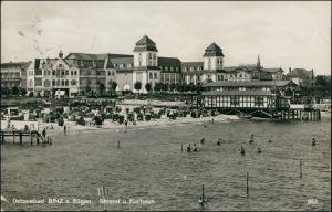 Ansichtskarte Binz (Rügen) Strand Kurhaus (Sonderstempel) 1931