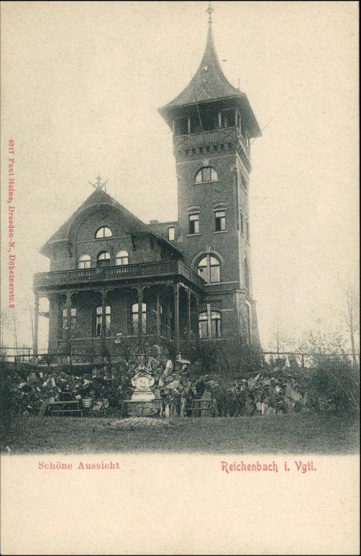 Reichenbach Vogtland Gaststatte Schone Aussicht Banke 1908