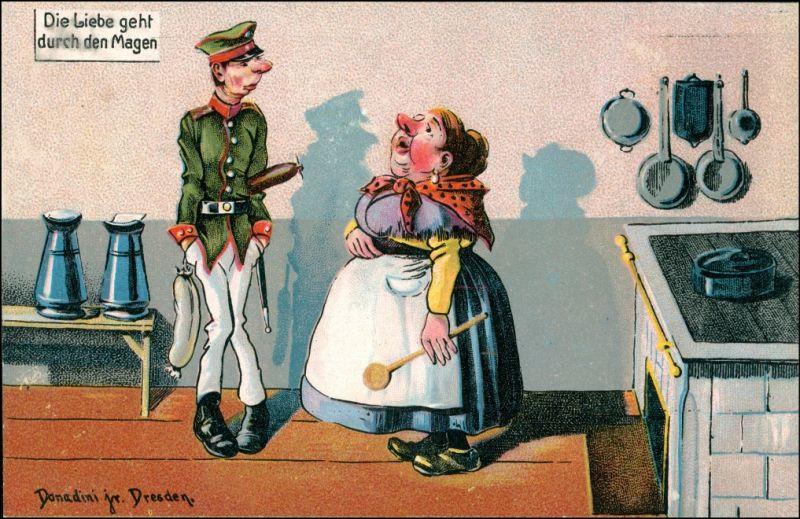 Künstlerkarte Scherzkarte Donadoni Dresden Liebe geht durch den Magen 1911