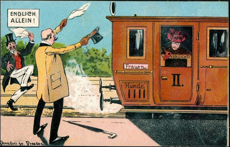 Ansichtskarte  Künstlerkarte Scherzkarte Donadoni Dresden Endlich allein 1911