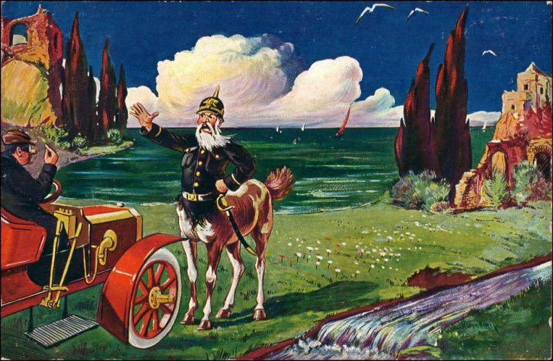 Ansichtskarte  Auto Soldat Künstlerkarte Scherzkarte Donadini Dresden 1911