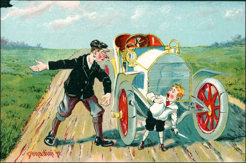 Frau repariert Auto Scherzkarte Künstlerkarte Donadini Dresden 1911