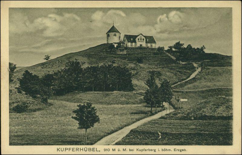 Kupferberg (Erzgebirge) Měděnec Kupferhübel/Mědník Haus - b Tetschen Decin 1923