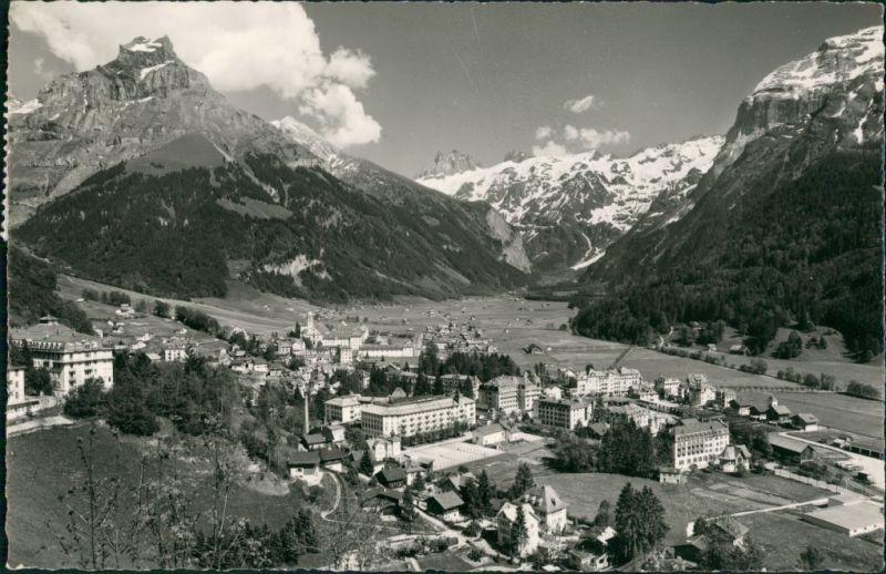 Engelberg OW Ansicht Vogelschau-Perspektive, Blick zu den Alpen 1958